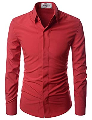 NEARKIN Super Stretchy Hide Button Point Wrinkle Free Dress Shirts