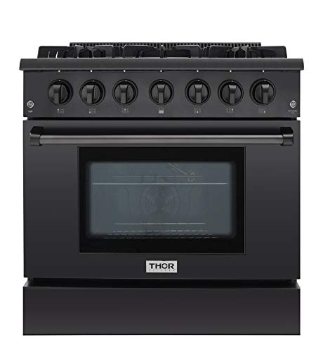Thor Kitchen 36″ Gas Range 6 Burners Cooktop, 1 Oven Built-in Black Stainless Steel