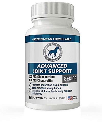 Vets Preferred Glucosamine for Dogs: Advanced Hip and Joint Supplement for Dogs with Glucosamine, Chondroitin, and MSM. Maximum Strength for Dog Hip and Joint Relief. Made in The USA.