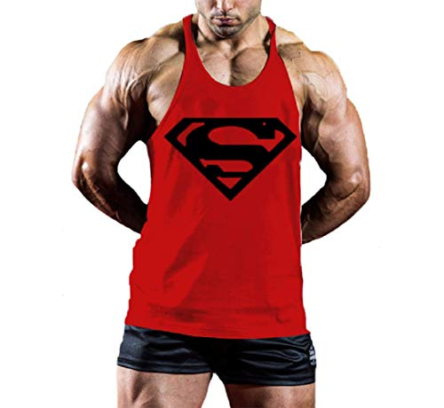 InleaderStyle Men's Bodybuilding S Logo Stringer Gym Tank Top Red L