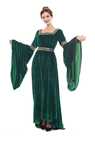 NSPSTT Women Medieval Renaissance Dress Victorian Cosplay Costume Long Sleeve (Medium, Green) ()