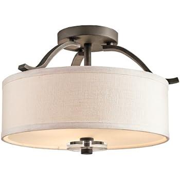 contemporary brushed nickel 75 led semi flush ceiling light lights for kitchen three mount hallways