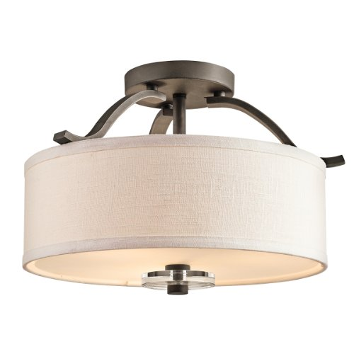 Kichler Lighting 42485OZ Leighton 3-Light Semi-Flush Ceiling Light, Olde Bronze