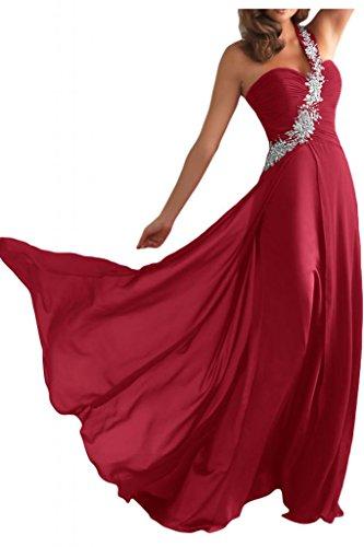 Toscana un-hombro de la gasa de las mujeres de la novia por la noche vestido largo fiesta vestidos de fiesta en vestidos de bola borgoña