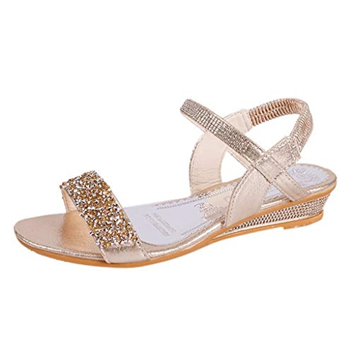 Dressin Women's Shoes Casual Summer Elastic Band Bling Low Heel Wedges Sandals Flatform Open Toe Ankle Strap Sandal