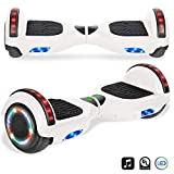 CHO Electric Self Balancing Dual Motors Scooter Hoverboard with Built-in Speaker and LED Lights - UL2272 Certified (White)