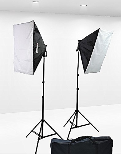1600 Watt Softbox Lighting Kit Video Lighting Kit Two Softbox, 8 x 45watt Flourescent Bulb, 2 x lightstand by Fancierstudio 9004S by Fancierstudio