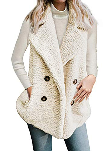 Kevins Bridal DJBM Womens Outerwear Faux Fur Open Front Lapel Sleeveless Vest Casual Fleece Waistcoat ()