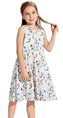 Size 5 Little Girls Dress, Little Girls Round Neck Sleeveless Slim Fit Casual Dresses Mermaid Dress White Blue (S,Mermaid)