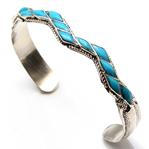 L7 Enterprises Zuni Sterling Silver Turquoise Zig Zag Bracelet by Wallace | Fits A Wrist Circumference of 6.5