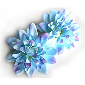 "(4) Blue Silk Dahlia Flower Heads - 4"" - Artificial Flowers Dahlias Head Fabric Floral Supplies Wholesale Lot for Wedding Flowers Accessories Make Bridal Hair Clips Headbands Dress 13"