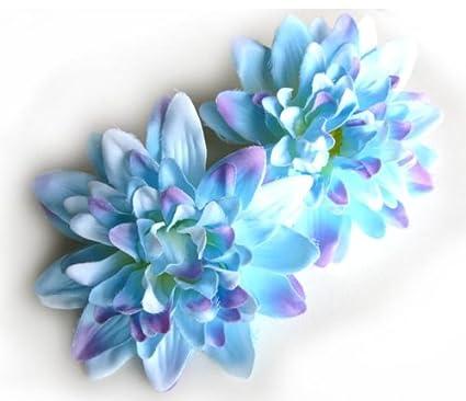 Amazon 4 blue silk dahlia flower heads 4 artificial 4 blue silk dahlia flower heads 4quot artificial flowers dahlias head mightylinksfo
