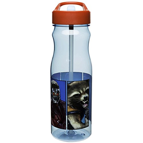 Zak! Designs Tritan Water Bottle with Flip-Up Spout and Straw, Guardians of the Galaxy 2, Break-resistant and BPA-free plastic, 25 oz.
