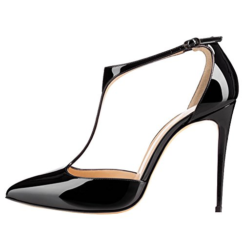 MERUMOTE Women Y-191 Pointed Toe Pumps Stilettos High Heels T-Strap With Buckle Patent Ladies Shoes Black ZqbO5HJy