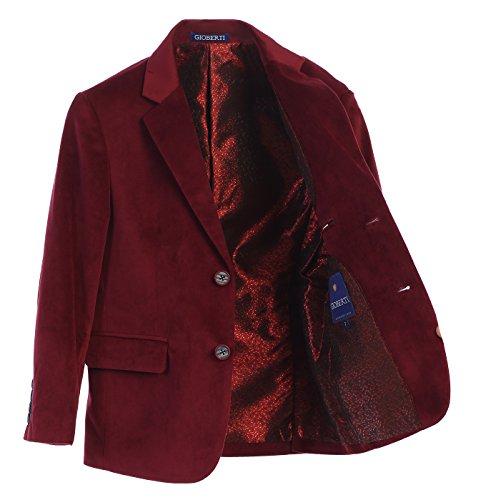 Gioberti Big Boys Formal Velvet Blazer with Designed Buttons, Burgundy, Size 12