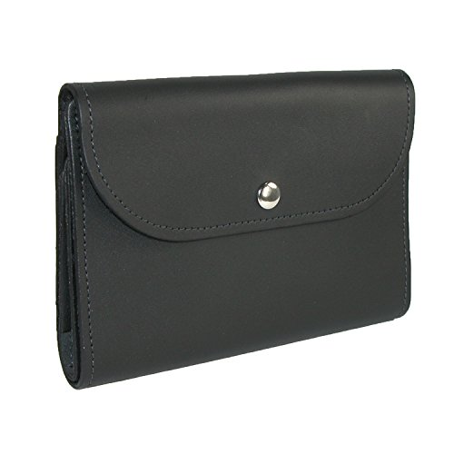 Check Leather Wallet (CTM Leather Deluxe Top Stub Checkbook Wallet, Black)