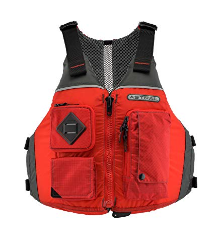 Astral Ronny Life Jacket PFD for Recreation, Fishing, and Touring Kayaking (Cherry Creek Red, M/L)