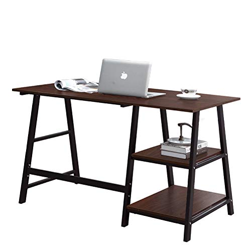 SogesPower Writing Computer Desk Trestle Desk Laptop PC Desk, Morden Vintage Home Office Sturdy Table, 55 inches Walnut