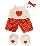 "Toys : Satin Heart Pj's with Heart Slippers Teddy Bear Clothes Outfit Fits Most 14"" - 18"" Build-A-Bear, Vermont Teddy Bears, and Make Your Own Stuffed Animals"