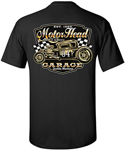 Motorhead 94 Rt 66 Hot Rod Speed Shop T-Shirt Tee (Medium, Black)