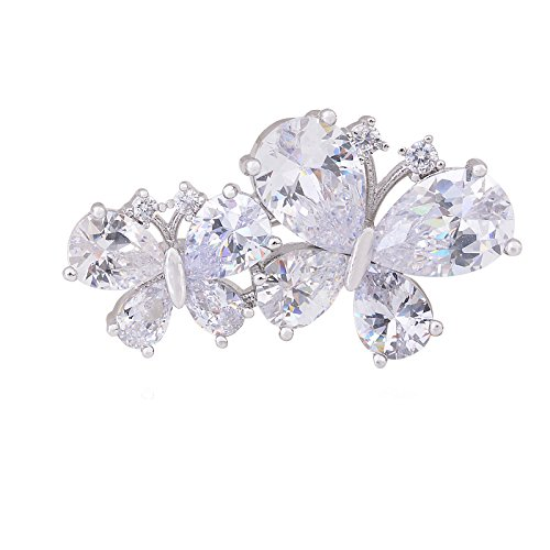 OBONNIE Shinning Crystal Butterfly Flower Women Brooch Pin Lapel Pin with Full Cubic Zirconia Party Gift (Double (Double Brooch Pin)