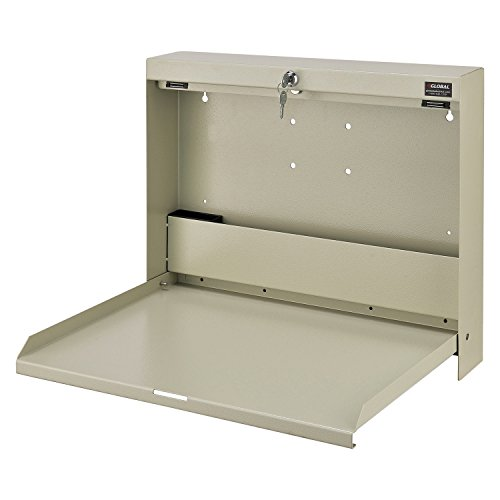 Wall Mounted Locking Writing Desk, 20 ''W x 3-3/8''D x 16-2/5''H, White by Global Industrial
