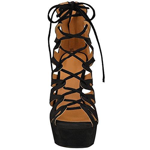 Stile alla Thirsty Tacco Lacci Nero Scamosciato Donna da Nuovo Gladiatore Caviglia Alto Numeri Sandali Scarpe con Fashion Plateau Finto 8q7p7