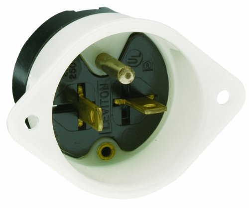 Leviton 5829 20 Amp, 250 Volt, Flanged Inlet Receptacle, Straight Blade, Commercial Grade, Grounding, Back Wired, White