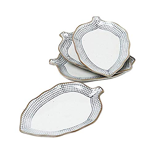 Leaf Shape Ceramic dishes set of 4, SANFEN Plates Serving for Sushi, Dim sum, Bread, Snacks and So On Suitable for Families and Parties (Dish Small Leaf)
