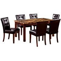 Furniture of America Carignan 7-Piece 60-Inch Dining Table Set with Faux Marble Top, Dark Oak Finish