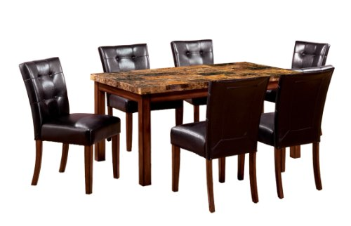 Furniture Of America Carignan 7 Piece 60 Inch Dining Table Set With Faux Marble Top Dark Oak Finish