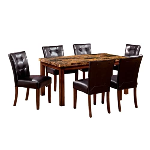Furniture Of America Carignan 7 Piece 60 Inch Dining Table Set With Faux  Marble Top, Dark Oak Finish