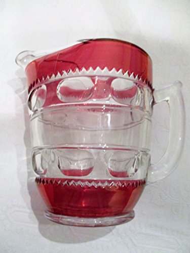 Kings Crown Ruby Red Flashed Ice Lip Pitcher 8