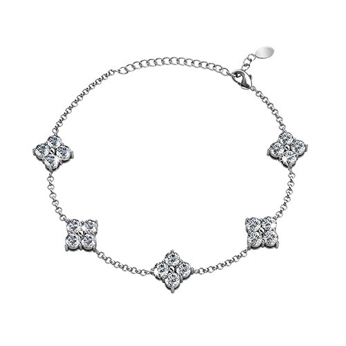 Cate & Chloe Adeline 18k White Gold Chain Bracelet with Swarovski Crystals Bracelet, Trendy Beautiful Sparkle Round Diamond Cut Crystal Cluster Bracelets for Women, Girls, Sparkling (Jean Jacket Costume Ideas)