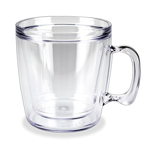Signature Tumbler Plastic Glass Unbreakable Double-Wall Insulated Coffee Mug Single 12 Oz Clear