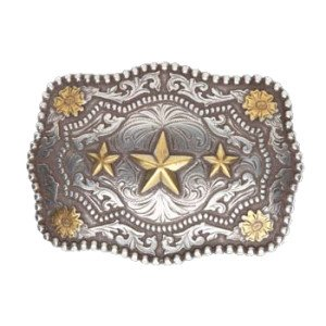 [Cody James Men's Triple Star Belt Buckle Silver One Size] (Cody Buckle)