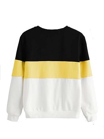 6b3ea6eeb09b55 ROMWE Damen Streifen Sweatshirt Farbblock Lang Locker Langarmshirt Pullover  Gelb M