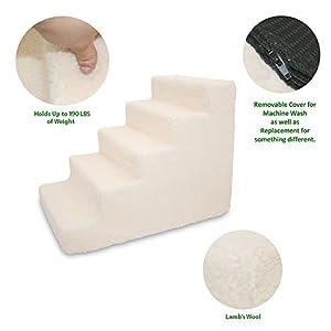 Best Pet Supplies ST220T-L Foam Pet Stairs/Steps, 5-Step, Lambswool