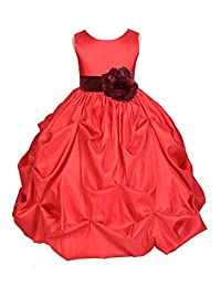 Red Satin Taffeta Pick-Up Bubble Flower Girl Dress Toddler Girl Dresses 301S