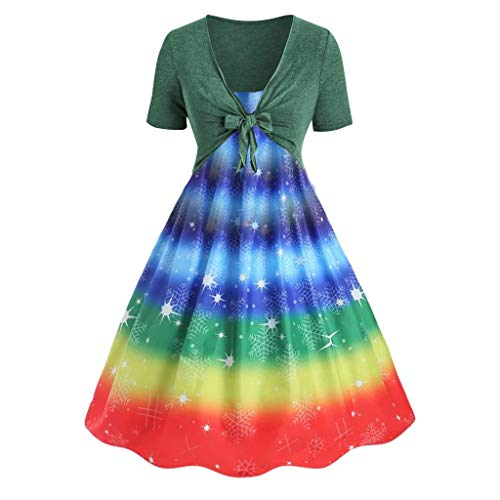 Duseedik Women's Two-Piece Dresses Set Summer Fresh Rainbow Print Sling Dress Lace Up V-Neck Cardigan Set ()