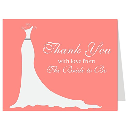 Bridal shower card amazon bridal shower thank you cards wedding dress simple gown gown shower coral from the bride to be future mrs soon to be set of 50 thank you notes m4hsunfo