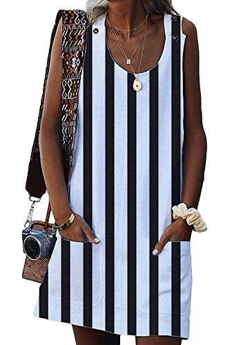 (BTFBM Women Scoop Neck Sleeveless Button Tank Top Striped Casual Summer Shirt Short Dress with Two Front Pockets (Stripe 2 - White, Large))