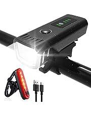 SHENMATE Fietsverlichtingsset, led-fietsverlichtingsset, USB-oplaadbaar ledlicht, voorlicht en achterlicht, IPX4 waterdicht