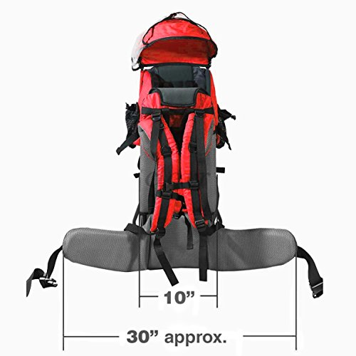 Baby Back Pack Cross Country Carrier Stand Child Kid Sun Shade Visor Shield Red by Clevr (Image #9)