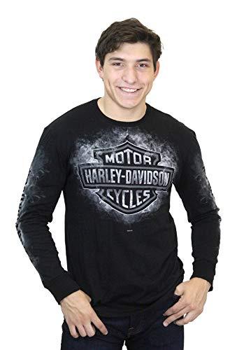 Harley-Davidson Mens Smoke Clouds B&S Black Long Sleeve T-Shirt