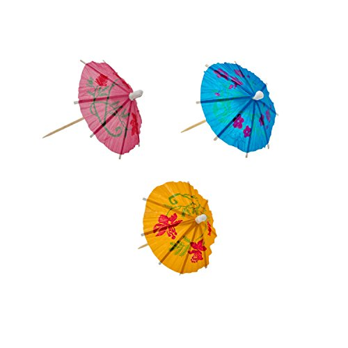Summer 4 Inch Umbrella Cocktail Picks Pack of 48 Tropical Drink Parasols Festive Hawaiian Luau Tiki Party Assorted Colors]()