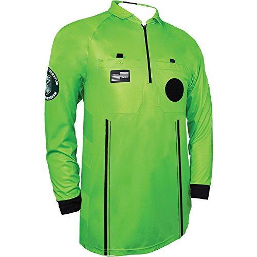 New USSF Pro Men's Soccer Referee Green Long Sleeve Shirt (Medium ()