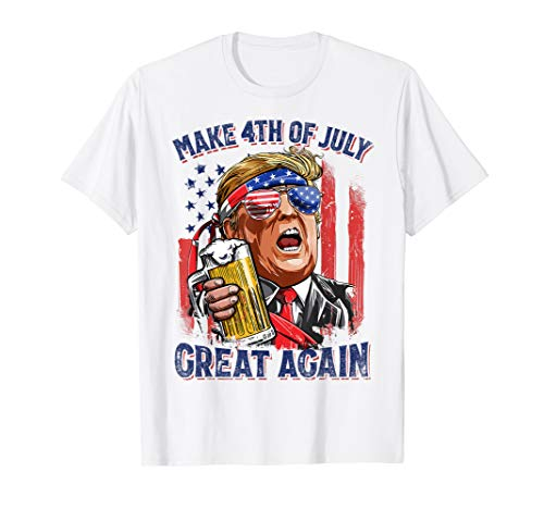 - Make 4th of July Great Again Funny Trump Men Drinking Beer T-Shirt