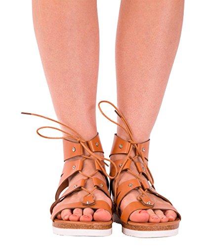 Lusty Chic - plataforma mujer marrón claro