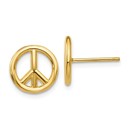 14k Yellow Gold Peace Symbol Post Stud Earrings Inspiration Fine Jewelry For Women Gift Set ()